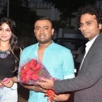 Actress Vijayalakshmi and Karun Raman with Sathya, Director of Aron Tattoo Studio