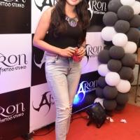 Actress Vijayalakshmi at Aron Tattoo Studio.