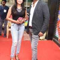 Actress Vijayalakshmi with Sathya, Director of Aron Tattoo Studio